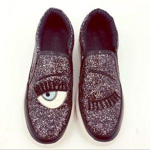 Wild Diva WINK Sparkle Slip On Sneakers